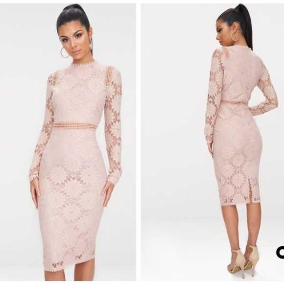 22a0096b5d2 Dusty Pink Long Sleeve Lace Bodycon Dress